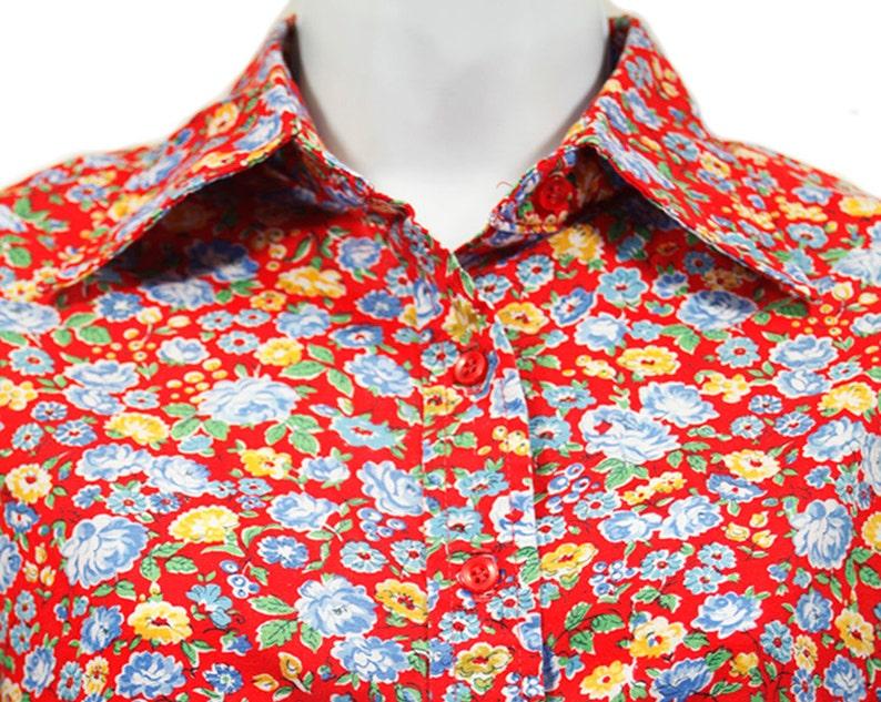 10 Dollar Sale---Vintage 80/'s BOBBIE BROOKS Red Blue /& Yellow Floral Pattern Blouse Shirt S