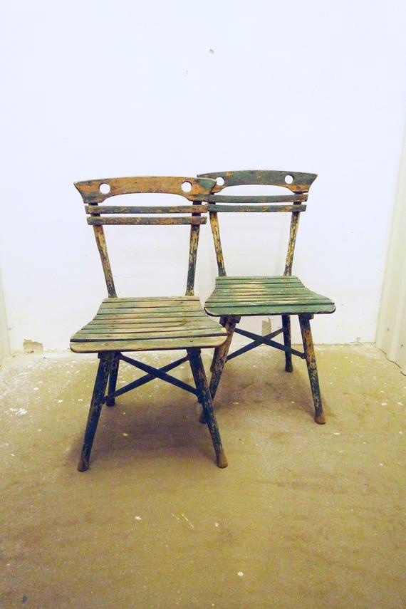 antica cucina di sedia da giardino in legno in stile art nouveau da pranzo  sedia sedia 1900s bistro sedia patio verde
