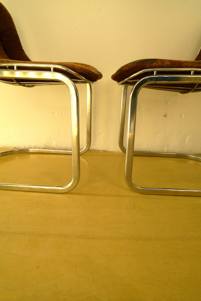 a pair vintage retro mid century chrome chair 80/'s metal chair cantilever easy chair dining chair  with original cushions