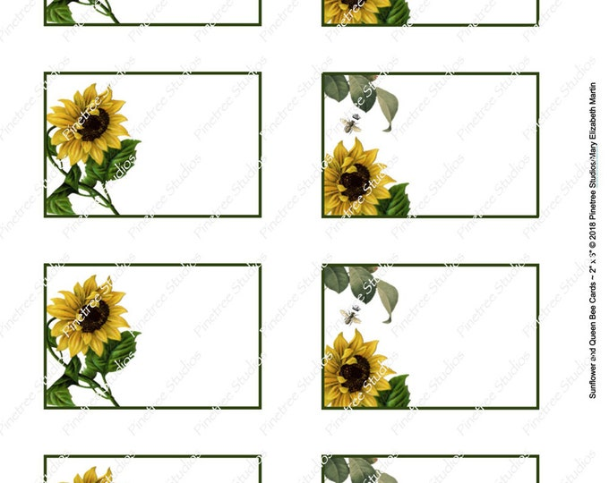"""Sunflower and Queen Bee Card (2""""x 3"""") ~ Digital Download ~ Printable / Label / Gift Tag / Place Card / Name Tag / Bookplates / ATC Cards"""