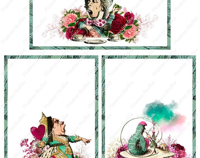 "Wonderland Hatter ~ Queen ~ Caterpillar Postcards (4"" x 6"" Landscape/Portrait) Digital Download ~ Printable / Editable / E-Card / Ephemera"