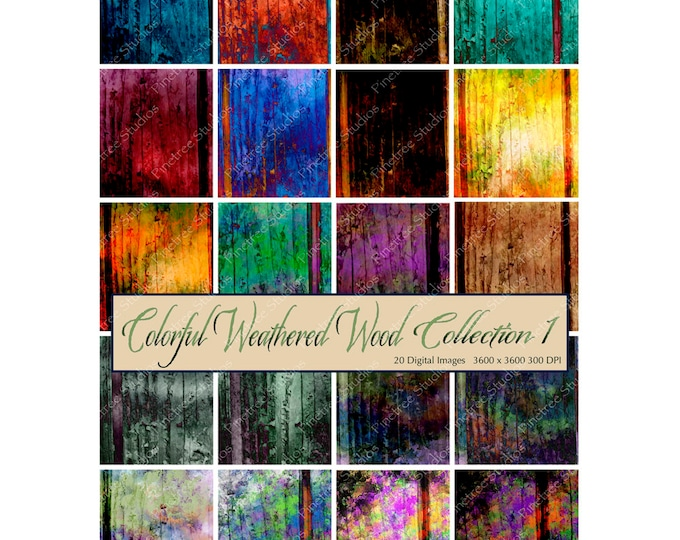 """Colorful Weathered Wood Collection 1 ~ 20 Digital Papers 12"""" x 12"""" / Printable / Vintage / Scrapbook Paper / Ephemera /Journal Covers"""