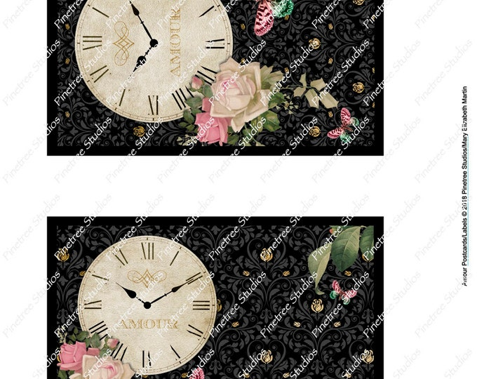 "Amour Vintage Postcards & Labels (4"" x 6"" Landscape and Portrait) Digital Download ~ Printable / Journal Label / Butterflies / Clock"