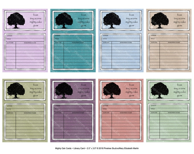 "Mighty Oak Library Cards with Text (2.5""x 3.5"" ATC Size) ~ Digital Download ~ Printable / Journal / Bookplate / Bookmark / Ephemera"