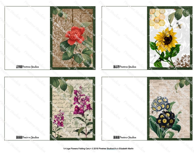 "Vintage Flowers Folding Cards (2.5"" x 3.5"" Folded) Digital Download ~ Printable / Gift Tag / Gift Card"