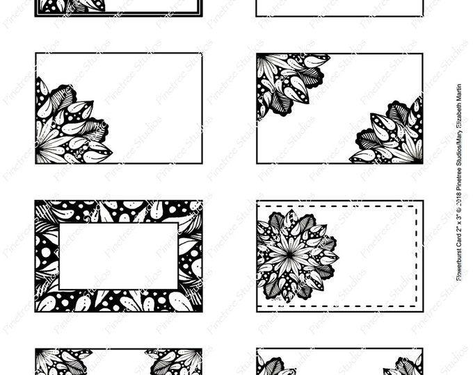 """Flowerburst Cards (2"""" x 3"""") ~ Digital Download ~ Printable / Labels / Gift Tags / Place Cards / Name Tag / Bookplates / Original Art"""