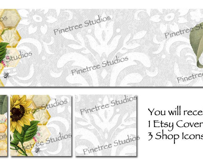 Etsy Cover Photo Banner (for Pattern Website too) and 3 Shop Icons ~ Sunflower and Queen Bee