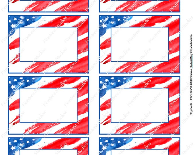 """Flag Card (2.5""""x 3.5"""") ~ Digital Download ~ Printable / Label / Gift Tag / Place Card / Name Tag / Bookplates / ATC Cards"""