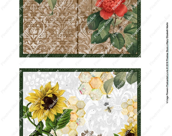 "Vintage Flowers Postcards & Labels (4"" x 6"") Digital Download ~ Printable / Postcard / Label / Journal Label / Card"