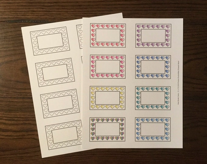 """Heart Border Cards (2"""" x 3"""") ~ Digital Download ~ Printable / Labels / Gift Tags / Place Cards / Name Tag / Bookplates / Color Your Own"""