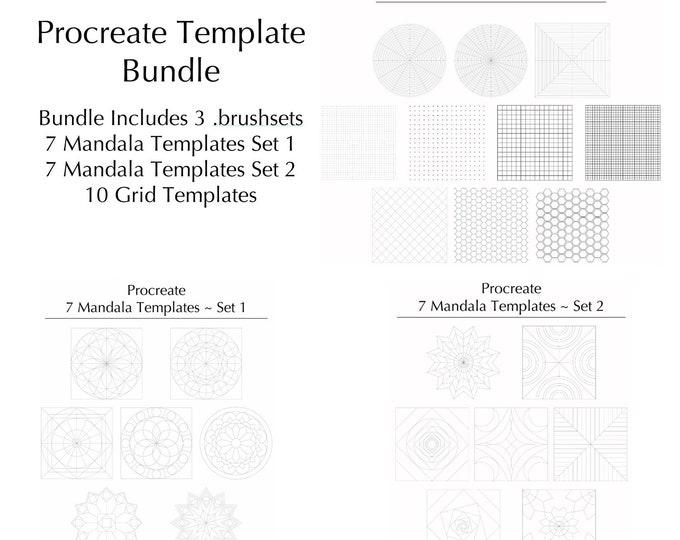 Procreate Mandala and Grid Template Bundle (.brushset) Designed for iPad and Procreate / Digital Download / Autodesk SketchBook