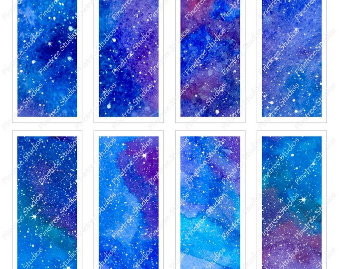 "Cosmic Bookmarks ~ (1.75"" x 5"") ~ Digital Download ~ Editable / Printable / Book Clubs / Journals / Ephemera / Labels / Aurora / Stars"