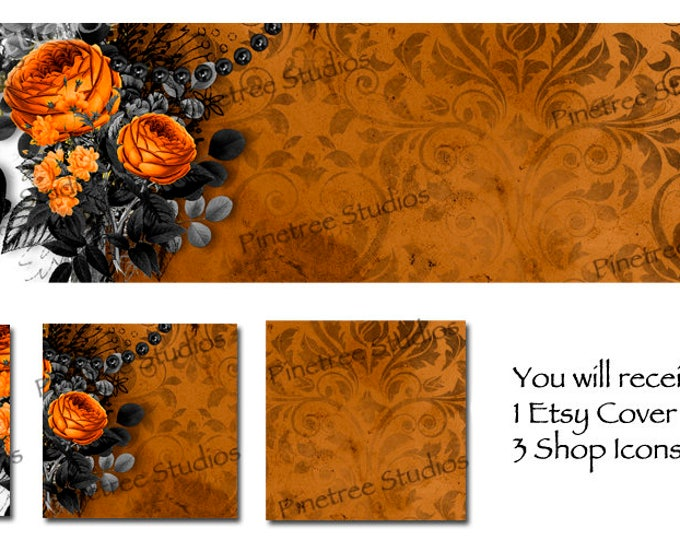 Etsy Cover Photo Banner (for Pattern Website too) and 3 Shop Icons ~ Happy Halloween