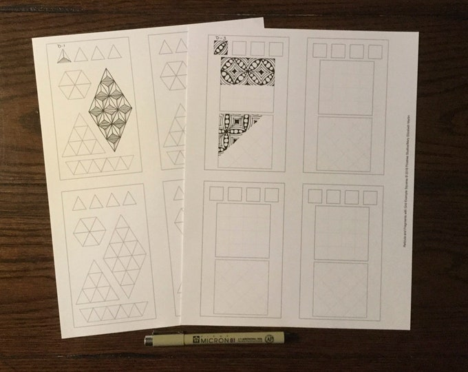 Square and Triangle Fragments Worksheets ~ Digital Download ~ Patterns / Zentangle / Tangle / Mono Tangles / Doodles / Tangle Art Worksheets