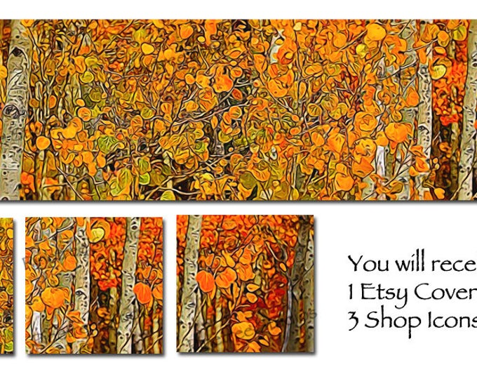 Etsy Cover Photo Banner (for Pattern Website too) and 3 Shop Icons ~ Autumn Aspen