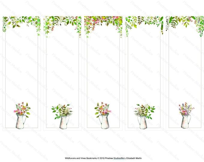"""Wildflowers and Vines  Bookmarks ~ 5 Different Bookmarks (2"""" x 6"""") ~ Digital Download ~ Printable / Watercolor / Book Clubs / Journals"""