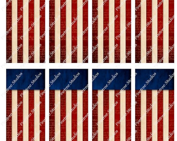 "Vintage Flag Bookmarks ~ (1.875"" x 5"") ~ Digital Download ~ Printable / Watercolor / Book Clubs / Journals / Bookmark / Editable / Patriotic"