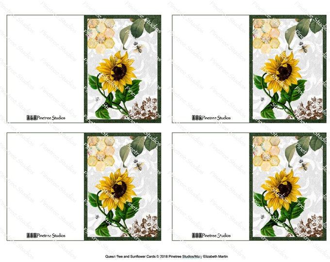 "Queen Bee and Sunflower Folding Cards (2.5"" x 3.5"" Folded) Digital Download ~ Printable / Gift Tag / Gift Card"