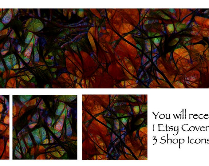 Etsy Cover Photo Banner (for Pattern Website too) and 3 Shop Icons ~ Stained Glass Aspen