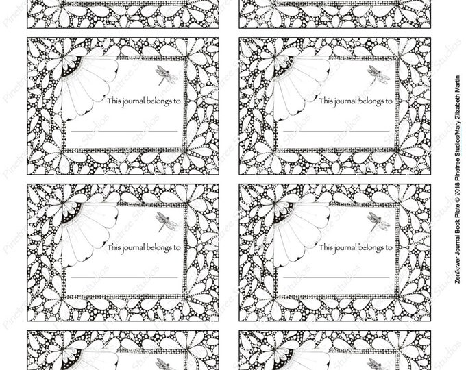 Zenflower Journal Book Plate Digital Download ~ Printable / Book Plate / Stickers / Labels / Journal / Sketch Book