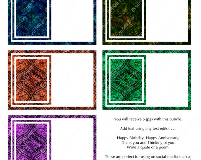 """Leaf Tile Collection 1 Digital Postcards (4"""" x 6"""" Landscape) Digital Download ~ Editable / Happy Birthday / Thank You / Special Occasions"""