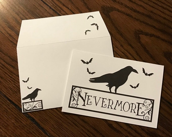 "Nevermore Halloween ~ Matching Card and Envelope Set (4"" x 6"" Folded) Digital Download ~ Printable / Blank Card / Halloween / Bats / Raven"