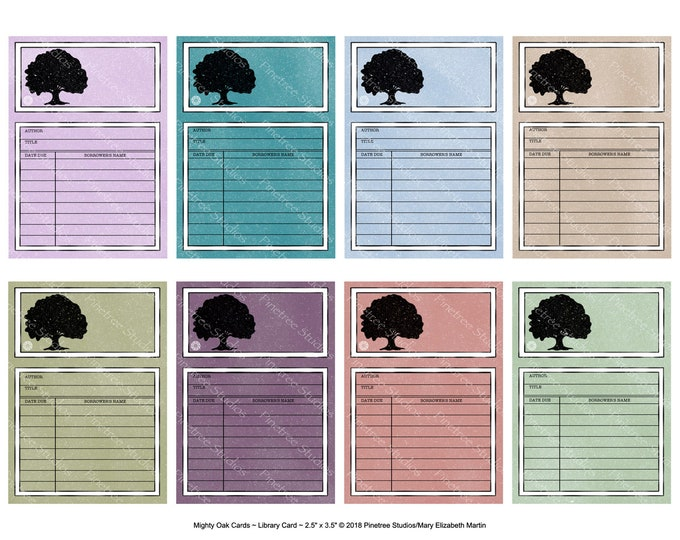 "Mighty Oak Library Cards (2.5""x 3.5"" ATC Size) ~ Digital Download ~ Printable / Journal / Bookplate / Bookmark / Ephemera"