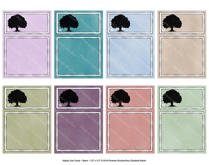 "Mighty Oak Cards ~ Blank (2.5""x 3.5"" ATC Size) ~ Digital Download ~ Printable / Journal / Bookplate / Bookmark / Ephemera"