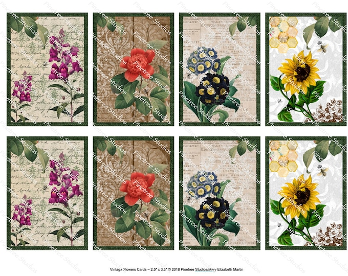 "Vintage Flowers Card (2.5""x 3.5"") ~ Digital Download ~ Printable / Editable / Label / Gift Tag / Bookplates / ATC Cards"