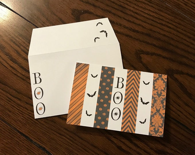 "Orange Boo Halloween ~ Matching Card and Envelope Set (4"" x 6"" Folded) Digital Download ~ Printable / Blank Card / Halloween / Bats"