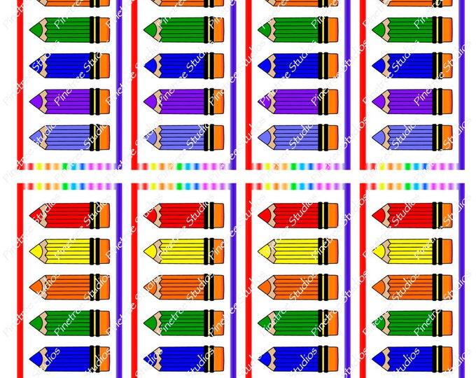"Rainbow Pencils Bookmarks ~ (1.875"" x 5"") ~ Digital Download ~ Printable / Watercolor / Book Clubs / Journals / Bookmarks / Editable"