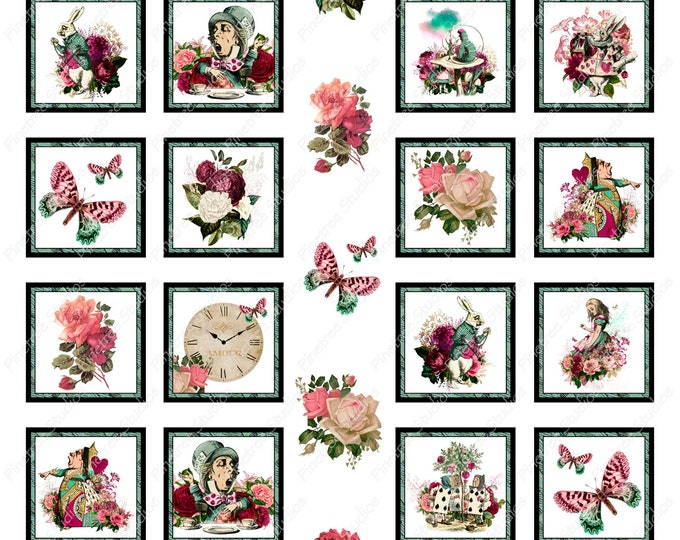 29 Alice in Wonderland Digital Stickers ~ Digital Download ~ Great for Digital Journals / Photos / Vintage / Ephemera / Planners / Floral