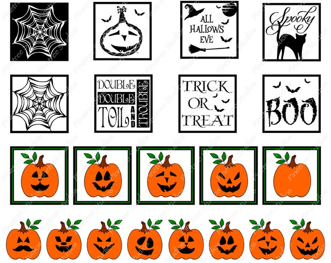 30 Halloween Digital Stickers ~ Digital Download ~  Great for Digital Journals / Photos / Vintage / Ephemera / Planners / Pumpkins / Bats