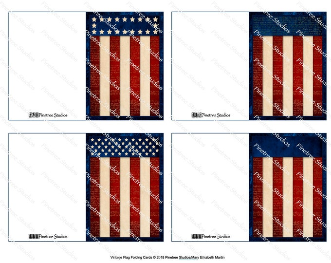 "Vintage Flag Folding Cards (2.5"" x 3.5"" Folded) Digital Download ~ Printable / Gift Tag / Gift Card / Patriotic / Stars and Stripes"