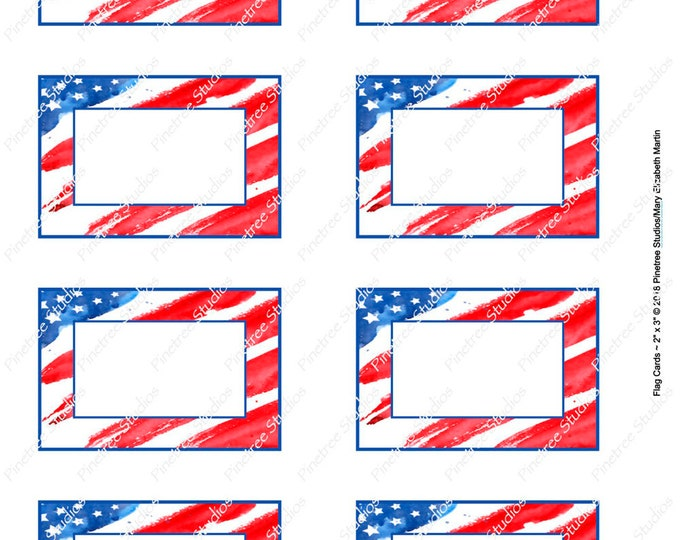 """Flag Card (2""""x 3"""") ~ Digital Download ~ Printable / Label / Gift Tag / Place Card / Name Tag / Bookplates / ATC Cards"""