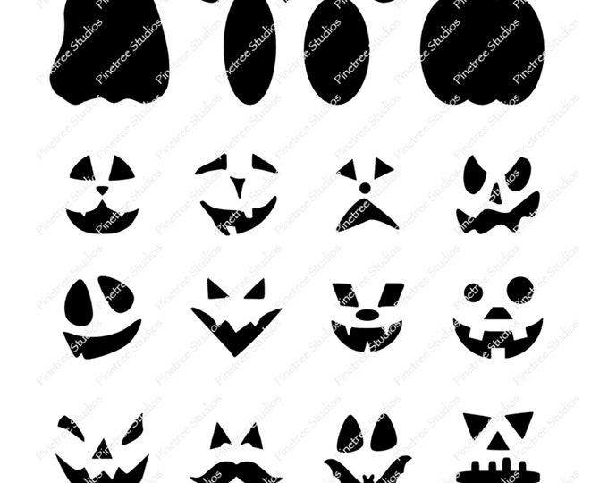 Procreate Pumpkin Face Stamps (.brushset) Designed for iPad and Procreate / Digital Download / Halloween