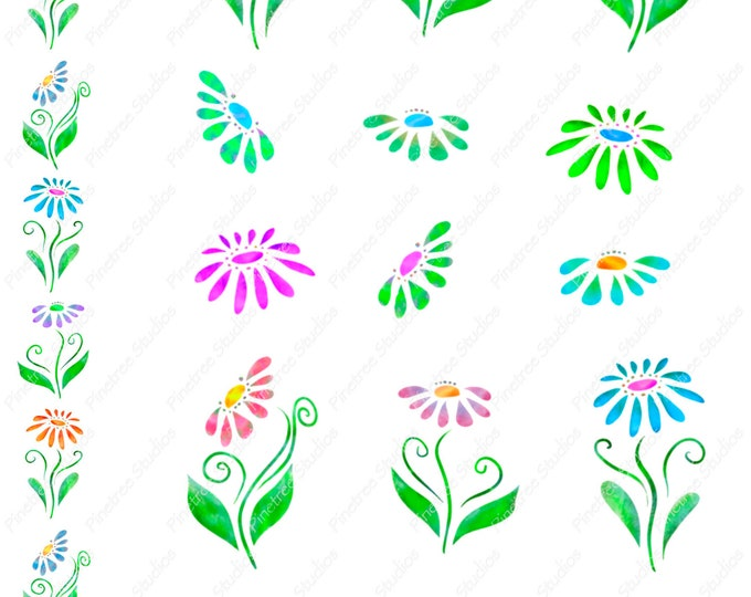 Daisy Digital Stickers ~ Digital Download ~  Great for Digital Journals / Photos / Vintage / Ephemera / Planners / Watercolor Daisies