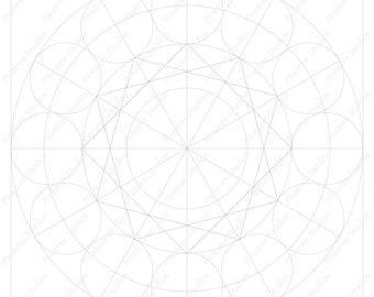circle grid for drawing flowers mandalas and more digital etsy