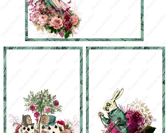 "Wonderland Alice ~ Roses ~ Rabbit Postcards (4"" x 6"" Landscape/Portrait) Digital Download ~ Printable / Editable / Card / E-Card / Ephemera"
