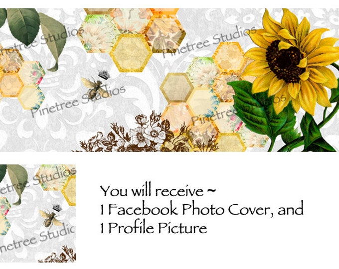 Queen Bee and Sunflower ~ Facebook Blank Cover Photo and Profile Picture