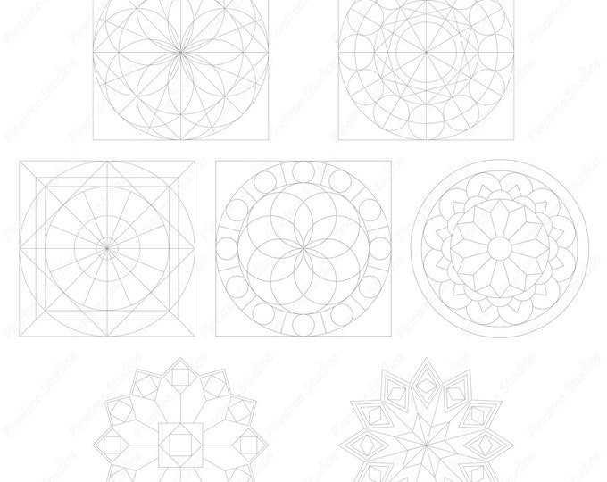 Procreate 7 Mandala Template Brush/Stamps Set 1 (.brushset) Designed for iPad and Procreate / Digital Download / Autodesk SketchBook