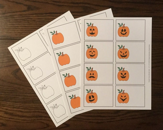"""Pumpkins & Pumpkin Faces (left side 2.5""""x3.5"""") ~ Digital Download ~ Printable / Label / Gift Tags / Place Cards / Name Tags / Color Your Own"""