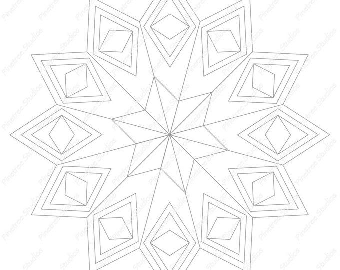 Diamonds Mandala 2 Template / Digital Download ~ Printable ~  iPad Pro / Procreate / Apple Pencil / Tangle Art Worksheet / Zendala