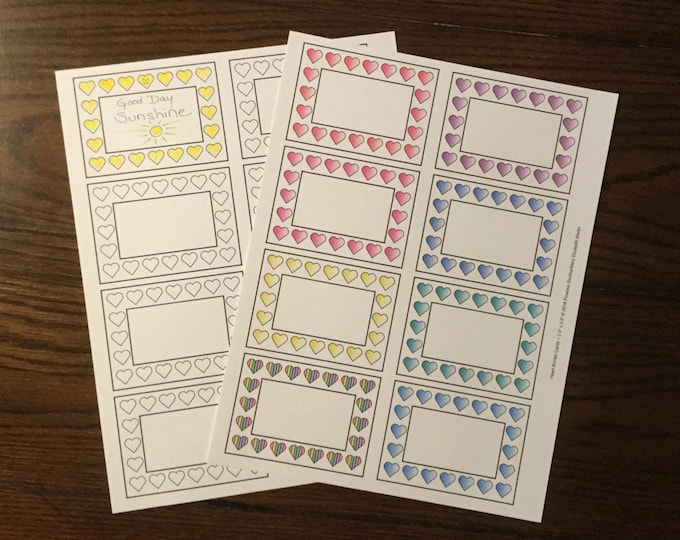 """Heart Border Cards (2.5"""" x 3.5"""") ~ Digital Download ~ Printable / Labels / Gift Tags / Place Cards / Name Tag / Bookplates / Color Your Own"""