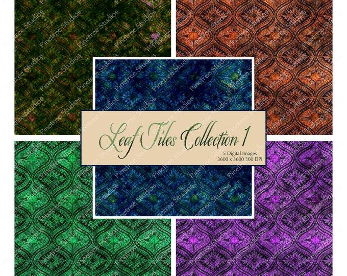 "Leaf Tiles Collection 1 ~ 5 Digital Papers 12"" x 12"" / Printable / Vintage / Scrapbook Paper / Distressed Tiles / Leaves"