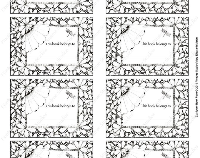 Zenflower Book Plate Digital Download ~ Printable / Book Plate / Stickers / Labels / Gift Tags