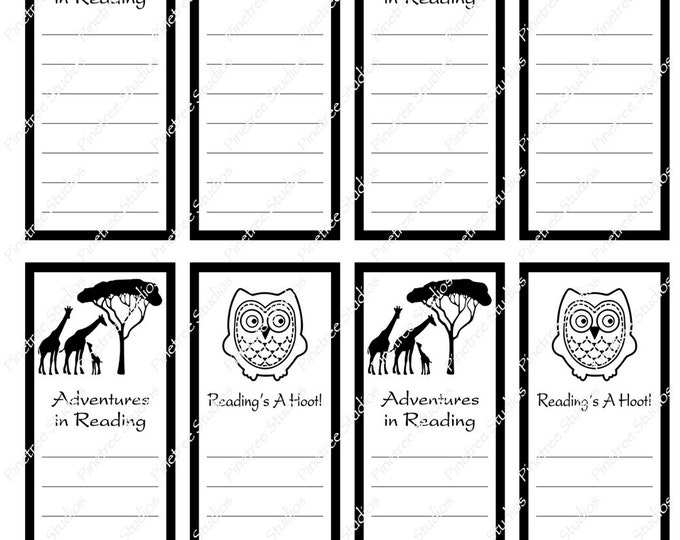 "Reading List Bookmarks ~ 2 Different Bookmarks ~ With or Without Lines (1.875"" x 5"") ~ Digital Download ~ Printable / Book Clubs / Journals"
