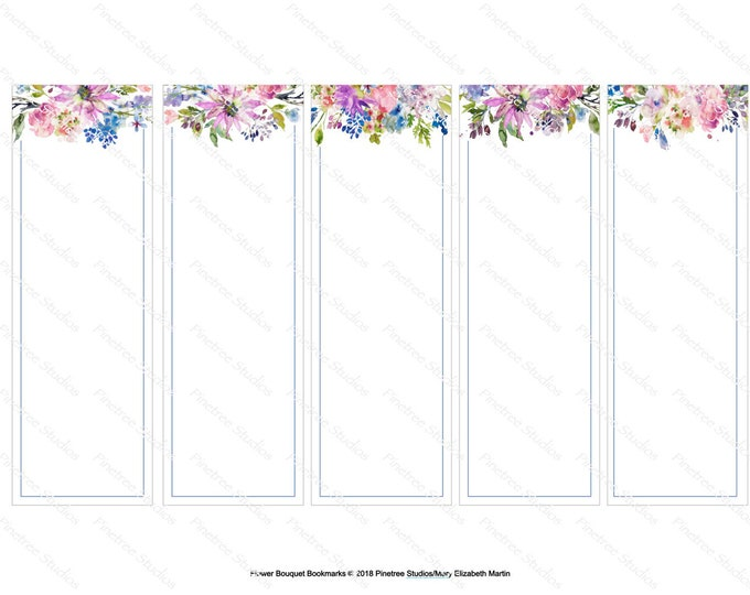 "Flower Bouquet Bookmarks ~ 5 Different Bouquets (2"" x 6"") ~ Digital Download ~ Printable / Watercolor / Wildflowers / Book Clubs / Journals"