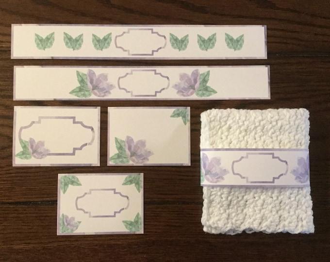 Purple Flower Band/Wrapper/Label ~ Digital Download Printable Editable / Dishcloth Label / Soap Label / Candle Label / Napkin Ring /Gift Tag