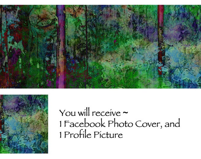 Forest Watercolor Art ~ Facebook Blank Cover Photo and Profile Picture